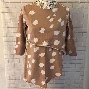 ASOS maternity nursing shirt pink polka dot tiered